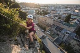 Klettersteig über der Stadt Salzburg - Getreidegasse und Altstadt